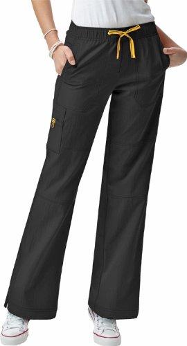 WonderWink Four-Stretch Sporty Cargo Pant 5214 (Black - XXL Tall)