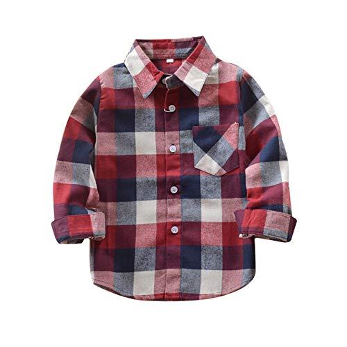 Sleeve Kids Flannel Long (Yinggeli Little Big Boys' Long Sleeve Button Down Plaid Flannel Shirt 2-8 Years(A-E006,2T))