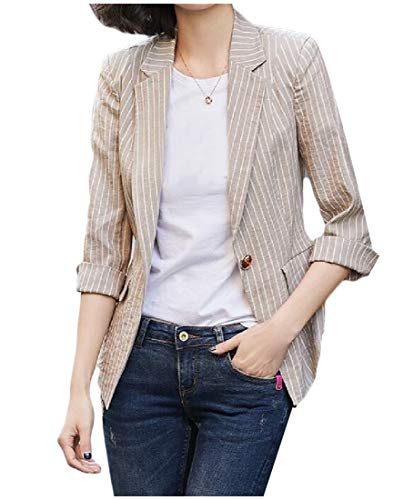 (Comaba Women's 1 Button Short Pinstripe Leisure Flat Collar Blazer Jacket Khaki L)