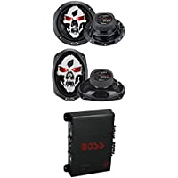 2) Boss SK653 6.5 350W + 2) SK693 6x9 600W 3-Way Car Speakers + R1004 400W Amp