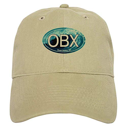 OBX Outer Banks NC Wave Oval - Baseball Cap Adjustable Closure, Unique Printed Baseball Hat