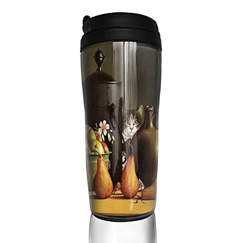 Chu warm Coffee Mug Sweet Kittens Table Egg Cat Pear Fruit Travel Tumbler Insulated Leak Proof Drink Containers Holder Designer 12 Ounces