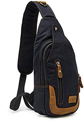 0b16804abec Amazon.com: Casual One Strap Backpack Men Rugzakken Canvas Chest Bag Small  Crossbody Shoulder Back Pack Women Single Strap Backpack Rucksack,Black: ...