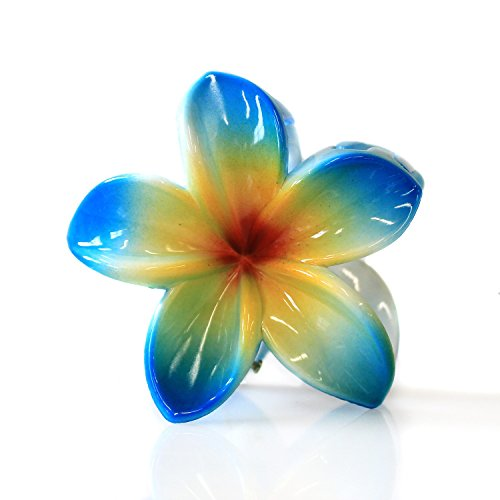 - Hawaii Luau Party Dance Performance Plastic Hand Painted Pastel Plumeria Flower hair claw clips in Blue