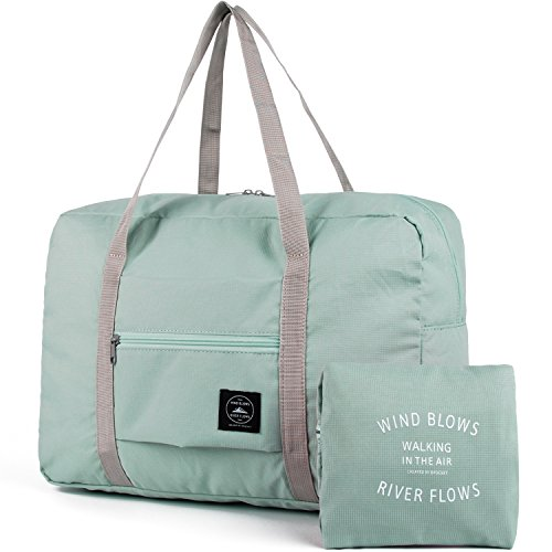 For Spirit Airlines Foldable Travel Duffel Bag Tote Carry on Luggage Weekender Overnight Sport Duffle for Women and Girls (1112-Mint Green) -