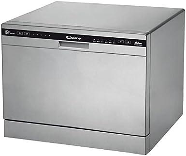 Candy CDCP 6/E-S - Lavavajillas pequeño, 6 servicios, 6 Programas, Inicio diferido, Clase A+A, 51dB, Color Plata