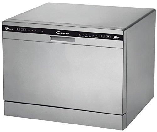 Candy CDCP 6/E-S – Lavavajillas pequeño, 6 servicios, 6 Programas, Inicio diferido, Clase A+A, 51dB, Color Plata