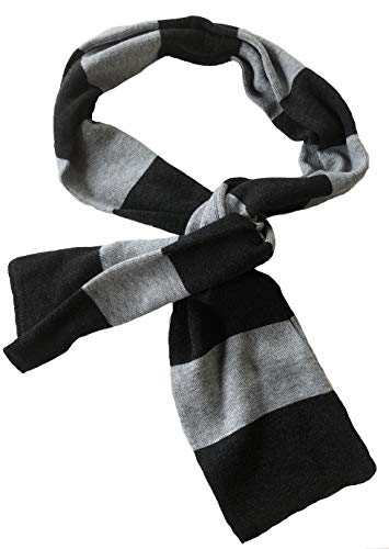 Mashed Clothing Black And Charcoal Striped Thick Knit Winter Scarf - Assorted Colors (Heather & Black) -