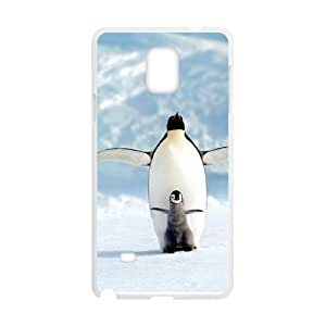 Diy Cute Penguin Animal Custom Cover Phone Case for samsung galaxy note 4 White Shell Phone [Pattern-1]