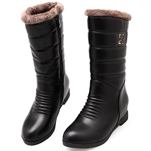TAOFFEN Women Heels Proof Mid Calf Boots Water Warm Shoes Mid Increasing Winter Black UZUqF