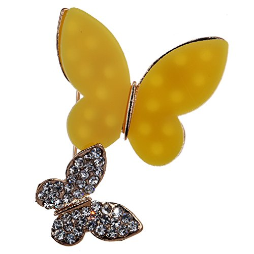 YAZILIND Jewelry Pretty Yellow Butterfly Brooches and Pins for Wedding Party