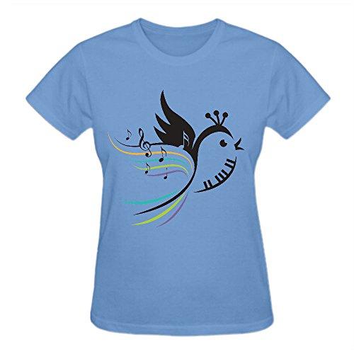 Piano Bird Logo Graphic T Shirts For Women Round Neck Blue