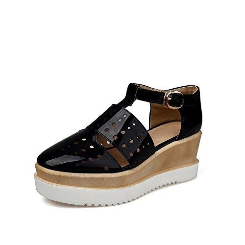 Cómoda Zapatos Pendiente Gruesa Hueco Con Lin El Sandalias Con De Zapatos Orificio black Xing Sandalias Una T Cuero Torta Galería Romano Tipo p7AOwq