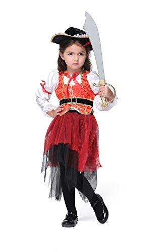 [Vivihoo EK021 Children's Halloween Party Costume Skirt Cosplay Pirate Dance Dress (XL)] (Cute Girls Pirate Costumes)