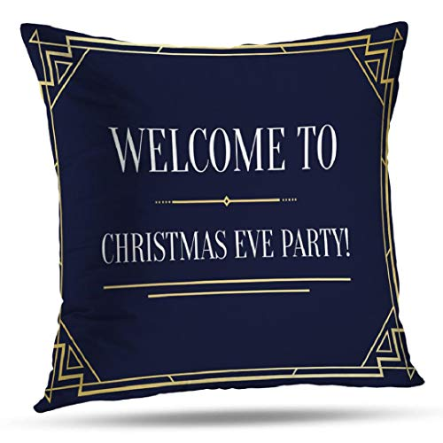 Great Gatsby Invitation Ideas (HAPPYOME Christmas Art Decorative Throw Pillow Covers, Great Vintage Invitation Sign Art Nouveau Frame Cushion Cover for Bedroom Livingroom Sofa 18X18 Inches(Old)