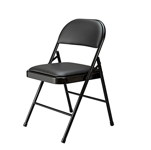 ose Padded Metal Folding Chair, Black - 4 Pack (ESS-8210-BLK) ()