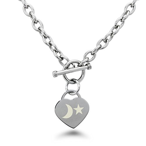 Engraved Heart Tag Necklace (Stainless Steel Moon and Star Engraved Heart Tag Charm Necklace)