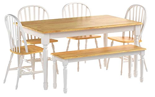 White Dining Room Set with Bench. This Country Style Dining Table and Chairs Set for 6 Is Solid Oak Wood Quality Construction. A Traditional Dining Table Set Inspired By the Farmhouse Antique Furniture Look. by Better Homes