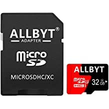 ALLBYT Micro SD Card 32GB Class 10 Micro SD Card with Adapter, TF Memory Card Compatible Smartphone, Tablets, DSLR and HD Camcorder (Black/Red)