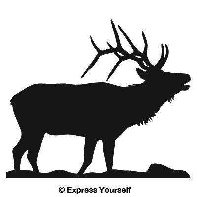 Bugling Elk (Black - Image Facing as Shown - Large) Decal Sticker - Big Game Collection - - Bugling Decal Elk