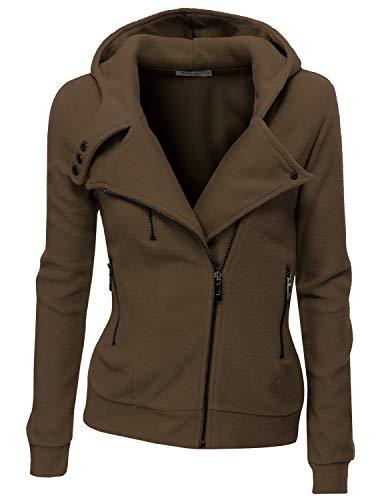 Doublju Fleece Zip-Up High Neck Jacket for Women with Plus Size Brown Small