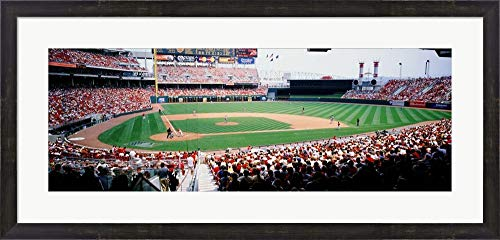 (Great American Ballpark, Cincinnati, OH by Panoramic Images Framed Art Print Wall Picture, Espresso Brown Frame, 37 x 18 inches )
