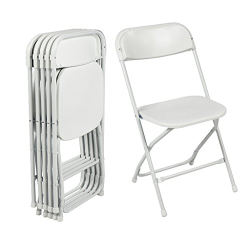 Utopkingdaily Commercial White Plastic Folding Chairs Stackable Wedding Party Event Chair, 5-Pack