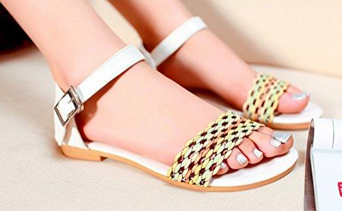 Aisun Womens Boho Comodi Sandali Da Spiaggia In Tessuto Color Caramella