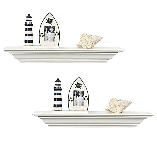 WELLAND 18-Inch Set of 2 White Corona Crown Molding Wall Shelves (Crown Molding White Finish)