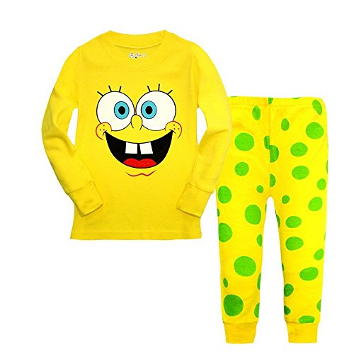 Meteora Boys Dinosaur Pajamas 2 Piece Set Long Sleeve Sleepwear 100% Cotton 2-7T (Spongebob, 4T) -