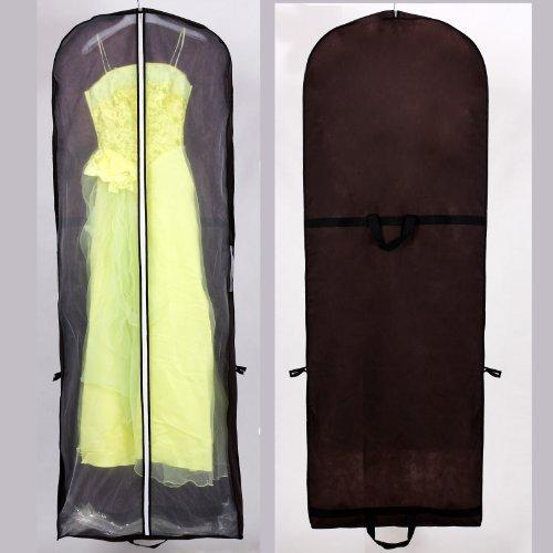 Atmungsaktiver Kleidersack Schutzhülle für Brautkleider / Abendkleider / Anzüge / Mäntel - ca. 180 cm - Reissverschluss - Zwei Taschen für Zubehörteile - Braun, KXB101 brown