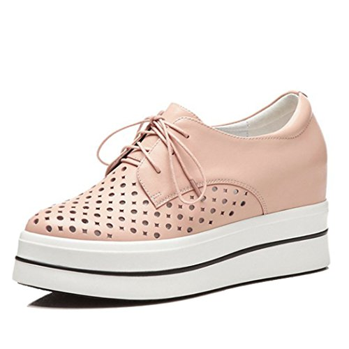 White Sandals Shoes Shoes Leather Heels Pink GAOLIXIA Women's Summer Increase Breathable Stealth Hollow High Casual Pink TqOnFUwC