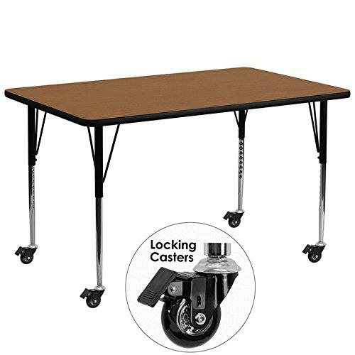 Flash Furniture Mobile 30''W x 72''L Rectangular Oak Thermal Laminate Activity Table - Standard Height Adjustable ()