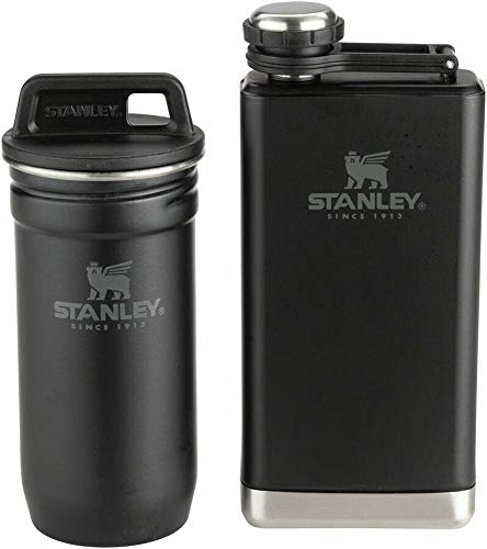 Stanley Foundry Black Adventure Gift Box Set - Stainless Steel Shotglasses and 8 oz Flask (Stanley Stainless Steel Shots Flask Gift Set)