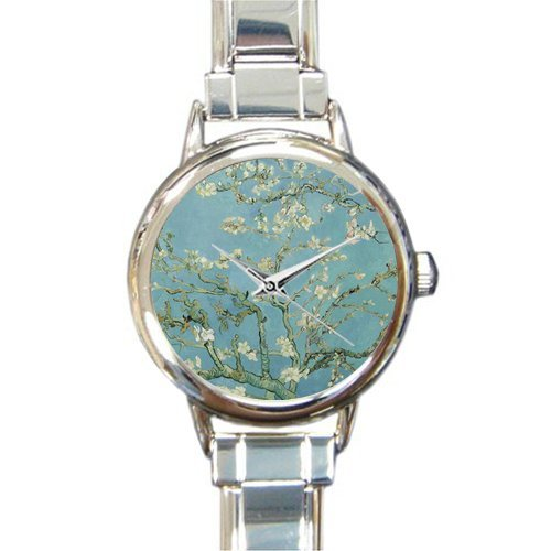 Personalized Watch Almond Blossoms by Vincent Van Gogh -Famous Painting Round Italian Charm stainless steel Watch
