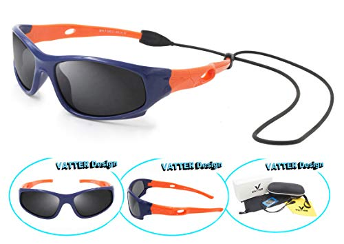 Kids Sunglasses (VATTER TR90 Unbreakable Polarized Sport Sunglasses For Kids Boys Girls Youth 816blueorange)
