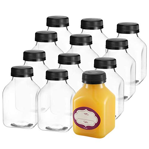 8 Oz Empty Plastic Juice Bottles with Lids - 12 Pack Small Square Drink Containers - Great for Storing Homemade Juices, Water, Smoothies, Tea and Other Beverages - Food Grade BPA Free