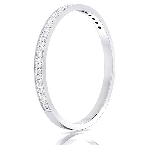 14k Gold Half Band Natural Diamond Wedding Anniversary Ring (1/10 cttw, G-H Color, I1-I2 Clarity) (white-gold, 6.5)