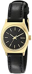 Nixon Women's Small Time Teller Gold-Tone Watch with Leather Band