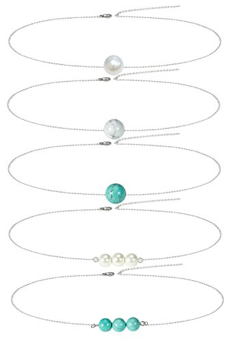 Choker Set Gemstone (5 Pcs Single Bead Pearl Choker Necklaces for Women Simple Dainty Turquoise Gemstone Necklace for Girls)