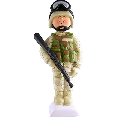 Camouflage Usa Made Fatigue Cap - Personalized Soldier Christmas Ornament for Tree 2018 - Armed Forces Fighter Trooper Salute Brave Serviceman Hold Rifle Gun in Fatigues Camouflage Uniform Proud Patriotic -Free Customization by Elves