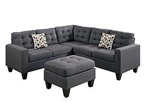 Modern Contemporary Polyfiber Fabric Modular Sectional Sofa And Ottoman Set  (Grey)