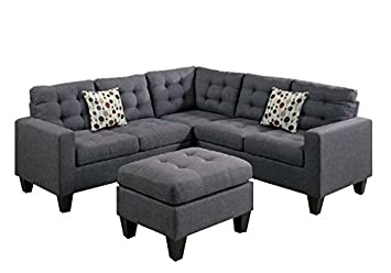 modern polyfiber fabric modular sectional sofa and ottoman set grey