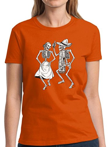Spider Dance Costume (Halloween Shirts for Women Happy Halloween Costume T-shirt Halloween Party Women's Shirt Dancing Skeletons Day of the Dead Shirt L)