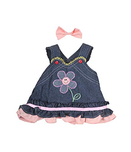 Summer Denim Dress with Bow Fits Most 8