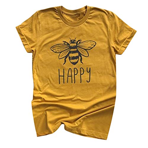 Onefa Women Cotton Round Neck Cute Funny Happy Bee Print T-Shirts Short Sleeve Plus Size Summer Blouse Easy to Wash Quick Dry for Spring ()