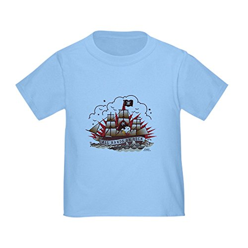 CafePress Peanuts All Hands On Deck Cute Toddler T-Shirt, 100% Cotton Baby Blue