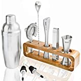Modern Bartender Kit: 9 Piece Ultra Premium Bar Tools with Acacia Wood Stand - Amazing Professional and Home Bar Set to Craft Any Cocktail to Perfection! - Solid Durable Stainless Steel
