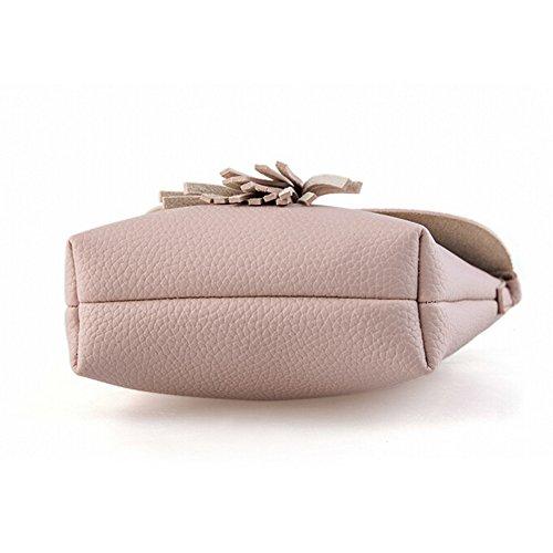 Yiliay Damen Quaste Dekoration Mini Umhängetaschen PU Leather Klein Schultertasche Für Mädchen-Rosa