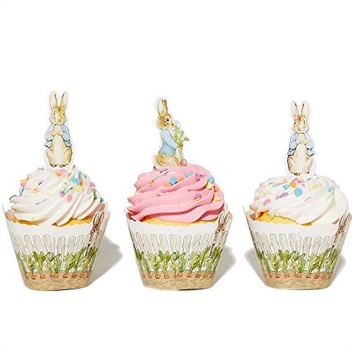 Peter Rabbit Cupcake Decoration - Party Supplies and Baby Shower Essentials - Set of 24 Pieces Cupcake Topper and 24 Pieces Cupcake Wrapper - Good for 24 Cupcakes]()